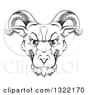 Black And White Snarling Ram Head