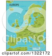 Clipart Of A Green Map Of Europe With Country Names And Capital Cities Royalty Free Vector Illustration