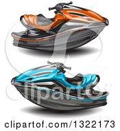 Clipart Of Red And Blue Jetskis Royalty Free Vector Illustration by merlinul