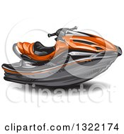 Clipart Of A Red Jetski Royalty Free Vector Illustration