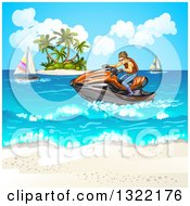 Clipart Of A Brunette White Man Riding A Red Jetski On The Ocean Near An Island And Beach Royalty Free Vector Illustration by merlinul