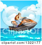 Clipart Of A Brunette White Man Riding A Red Jetski On The Ocean Royalty Free Vector Illustration