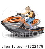 Clipart Of A Brunette White Man Riding A Red Jetski Royalty Free Vector Illustration
