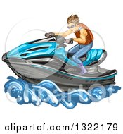 Clipart Of A Brunette White Man Riding A Blue Jetski Royalty Free Vector Illustration