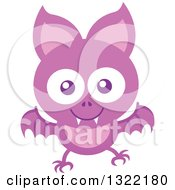 Clipart Of A Happy Flying Purple Baby Bat Royalty Free Vector Illustration by Zooco