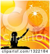 Clipart Of A Black Silhouetted Female Dj Mixing Records Over Palm Trees Dancers A Plane Sun Disco Ball Wave And Halftone On Orange Royalty Free Vector Illustration by elaineitalia