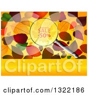 Clipart Of A Magnifying Glass With Half Off Over Autumn Leaves And A Blank Panel Royalty Free Vector Illustration by elaineitalia