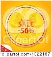 Clipart Of A Circular Autumn Leaf And Half Off Sale Tag With A Peeling Corner On Orange Royalty Free Vector Illustration by elaineitalia