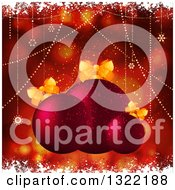 Red Christmas Background With Flares Red Baubles Snowflakes And Grunge