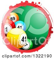 Clipart Of A Grungy Red Circle Frame With 3d Bingo Or Lottery Balls Over Green Royalty Free Vector Illustration by elaineitalia