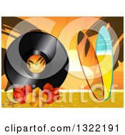 Clipart Of A Tropical Beach At Sunset With 3d Surf Boards Palm Tree Branches Hibiscus Flowers And A Vinyl Record Royalty Free Vector Illustration by elaineitalia