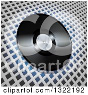 Clipart Of A 3d Vinyl Record Over White Lattice On Blue Royalty Free Vector Illustration by elaineitalia