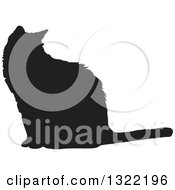 Clipart Of A Black Sitting Cat Silhouette 2 Royalty Free Vector Illustration