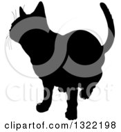 Clipart Of A Black Curious Cat Silhouette Royalty Free Vector Illustration