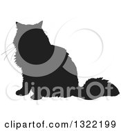 Clipart Of A Black Sitting Cat Silhouette 3 Royalty Free Vector Illustration
