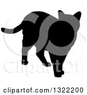 Clipart Of A Black Standing Cat Silhouette Royalty Free Vector Illustration