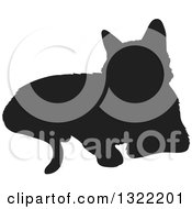 Clipart Of A Black Resting Cat Silhouette Royalty Free Vector Illustration