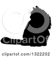 Clipart Of A Black Sitting Cat Silhouette Royalty Free Vector Illustration