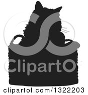 Clipart Of A Black Cat In A Basket Silhouette Royalty Free Vector Illustration