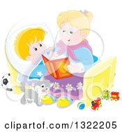 Clipart Of A Cat And Blond Caucasian Boy Listening To Granny Reading A Bedtime Story Royalty Free Vector Illustration