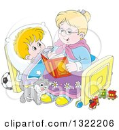 Clipart Of A Cat And Blond White Boy Listening To Granny Reading A Bedtime Story Royalty Free Vector Illustration by Alex Bannykh