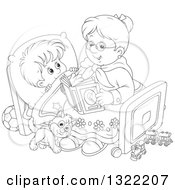 Lineart Clipart Of A Black And White Cat And Boy Listening To Granny Reading A Bedtime Story Royalty Free Outline Vector Illustration