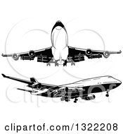 Clipart Of Black And White Airplanes Royalty Free Vector Illustration by dero