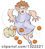 Clipart Of A Cartoon Caucasian Matron Woman Tripping And Dropping A Bag Of Oranges Royalty Free Vector Illustration
