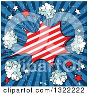 Clipart Of A Comic Styled Patriotic Fourth Of July Burst With Stars And Puffs On Blue Grungy Rays Royalty Free Vector Illustration