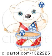 Clipart Of A Cute Patriotic American Polar Bear Cub Playing Drums Royalty Free Vector Illustration by Pushkin