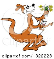 Cartoon Kangaroo Holding Flowers And Hopping With A Joey In Her Pouch