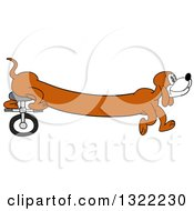 Clipart Of A Cartoon Long Weiner Dog Riding A Unicycle With His Hind Legs Royalty Free Vector Illustration