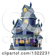 Clipart Of A Haunted Halloween House Royalty Free Vector Illustration