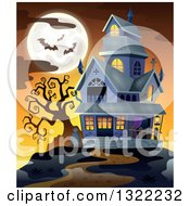 Clipart Of A Haunted Halloween House With A Full Moon And Bats Against An Orange Sunset Royalty Free Vector Illustration