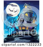 Clipart Of A Haunted Halloween House With A Full Moon And Bats Against A Dusk Sky Royalty Free Vector Illustration