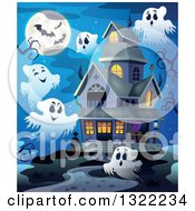 Clipart Of A Haunted Halloween House With Ghosts And A Full Moon Royalty Free Vector Illustration