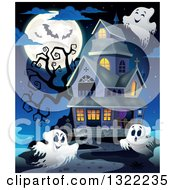 Clipart Of A Haunted Halloween House With Ghosts A Dead Tree Bats And A Full Moon Royalty Free Vector Illustration
