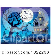 Clipart Of A Haunted Halloween House With A Cemetery Dead Tree Full Moon Jackolanterns And Bats Against A Dusk Sky Royalty Free Vector Illustration