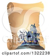 Clipart Of A Haunted Halloween House With A Full Moon And Bats On A Parchment Scroll Royalty Free Vector Illustration