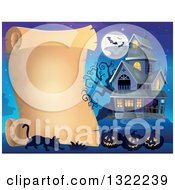 Clipart Of A Haunted Halloween House With A Full Moon Bats Jackolanterns And A Cat By A Blank Scroll Royalty Free Vector Illustration