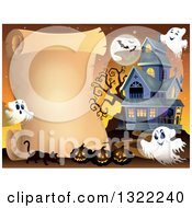 Clipart Of A Haunted Halloween House With Ghosts Bats A Full Moon Cat And Jackolanterns By A Parchment Scroll Royalty Free Vector Illustration