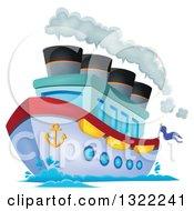 Cartoon Cruise Ship With Steam