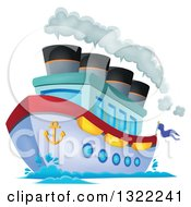 Clipart Of A Cartoon Cruise Ship With Steam Royalty Free Vector Illustration