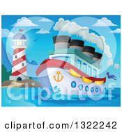 Cartoon Cruise Ship With Steam By A Lighthouse