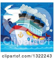 Cartoon Cruise Ship With Steam By A Tropical Island Under A Full Moon At Night