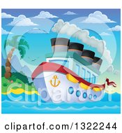 Clipart Of A Cartoon Cruise Ship With Steam By A Tropical Island At Sunrise Royalty Free Vector Illustration by visekart