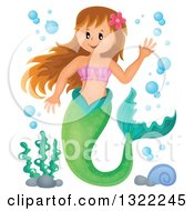 Clipart Of A Happy Caucasian Female Mermaid Waving With Bubbles Royalty Free Vector Illustration by visekart