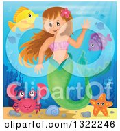 Clipart Of A Happy Caucasian Female Mermaid Waving Surrounded By Sea Creatures Royalty Free Vector Illustration by visekart