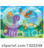 Clipart Of A Pterodactyl Flying Over Dinosaurs In A Volcanic Landscape Royalty Free Vector Illustration by visekart