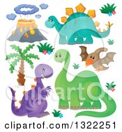 Clipart Of A Palm Tree Volcano And Dinosaurs Royalty Free Vector Illustration by visekart